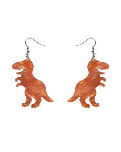 Tyrannosaurus Ripple Glitter Resin Drop Earrings- Orange