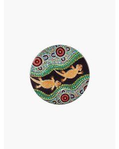 Aboriginal Bearded Dragon Ceramic Coaster