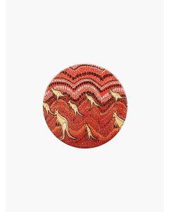 Aboriginal Kangaroo Sunset Ceramic Coaster