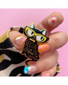 Feline Fine Black Enamel Pin