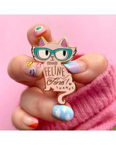 Feline Fine Pink Enamel Pin