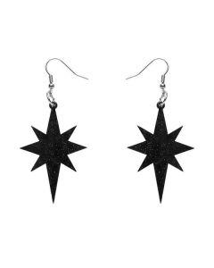 Starburst Black Glitter Drop Earrings