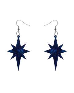 Starburst Blue Glitter Drop Earrings