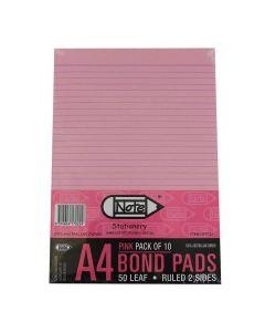 PAD PINK A4 RULED BOND NP7022